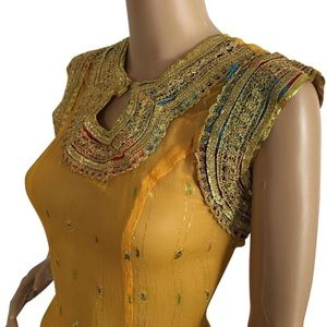 Beautiful Gold Embroidered dress. Sz S(6)